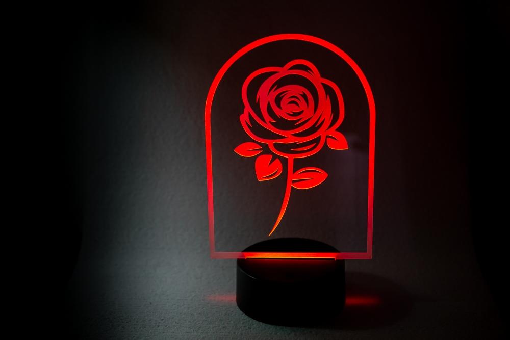 Rosa de Sant Jordi Lampara Led iluminación RGB