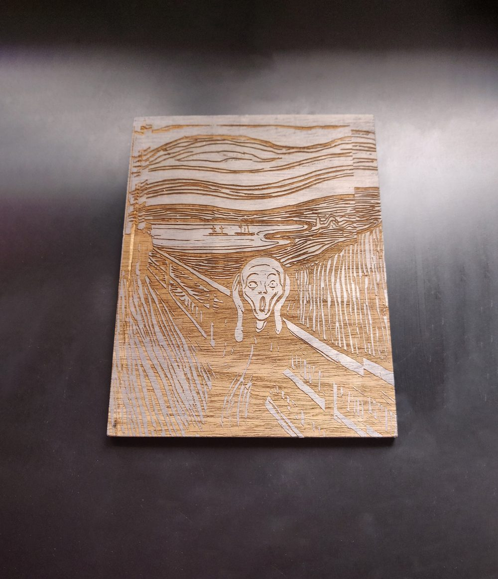 El grito de Munch – Cuadro en madera grabado