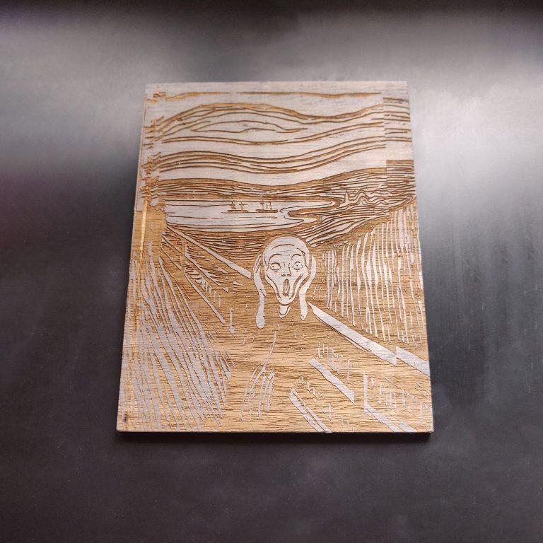 El Grito de Munch - Cuadro grabado en madera
