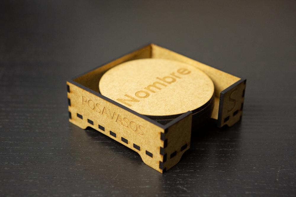 Set de 4 Posavasos de Madera Grabados personalizado